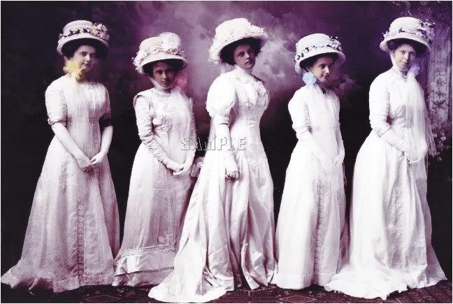 VINTAGE WOMEN HATS GOWN BRIDES PHOTO CANVAS ART
