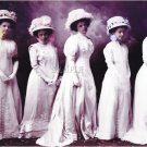 VINTAGE WOMEN HATS GOWN BRIDES PHOTO CANVAS ART