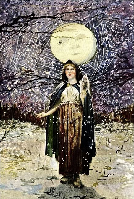 VINTAGE WITCH WICCA PAGAN MAN IN MOON CANVAS ART~ LARGE