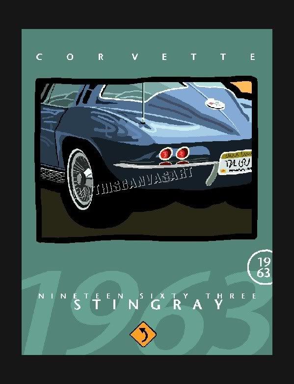 1963 CORVETTE STINGRAY CLASSIC CAR CANVAS ART PRINT