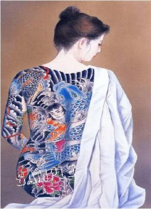 JAPANESE NUDE BEAUTY MODEL TATTOO BODY ART CANVAS PRINT