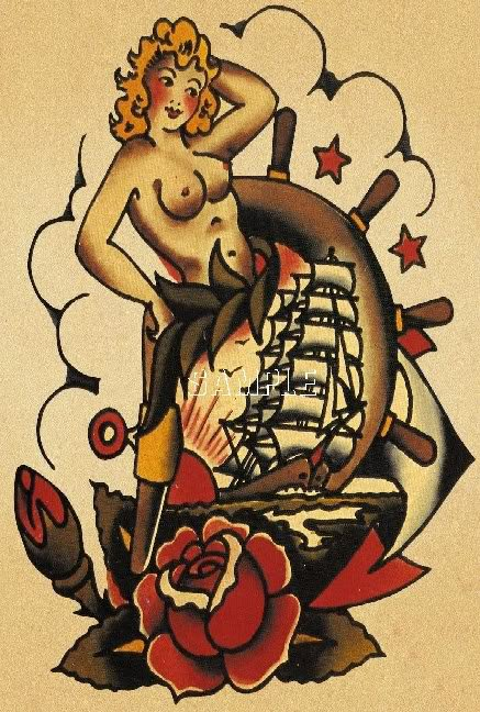 VINTAGE TATTOO NUDE PINUP GIRL SHIP CANVAS PRINT- LARGE