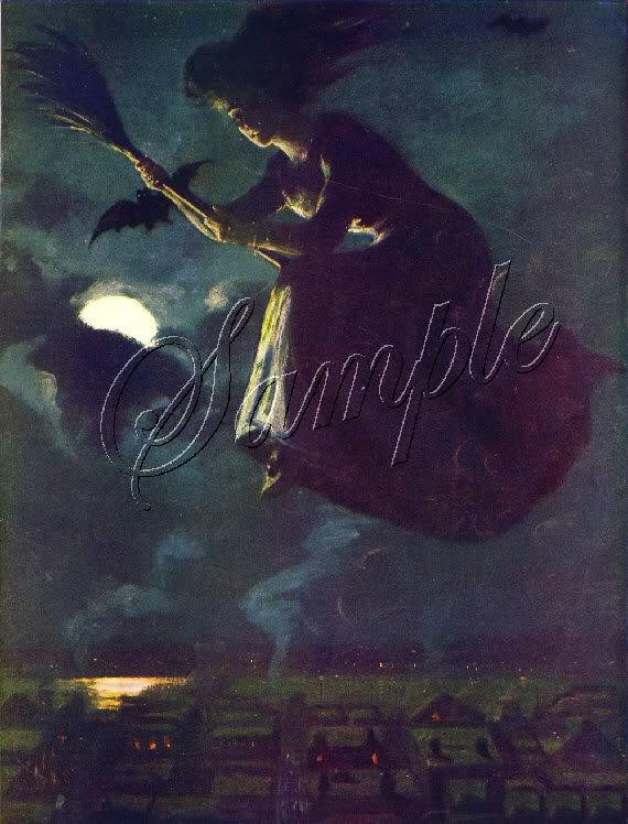 VINTAGE WITCH FLYING HALLOWEEN WICCA CANVAS ART - LARGE
