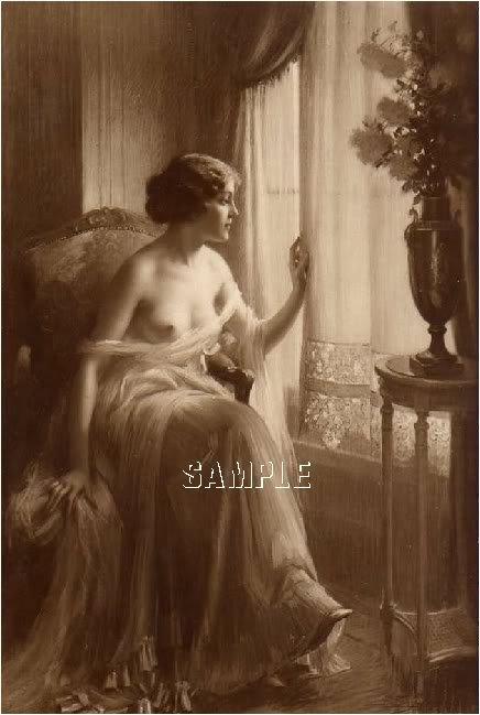 VINTAGE NUDE LADY WINDOW SEPIA CANVAS ART PRINT- LARGE