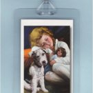 CHILD ANTIQUE DOLL FOX TERRIER DOG - 2 ART LUGGAGE TAGS
