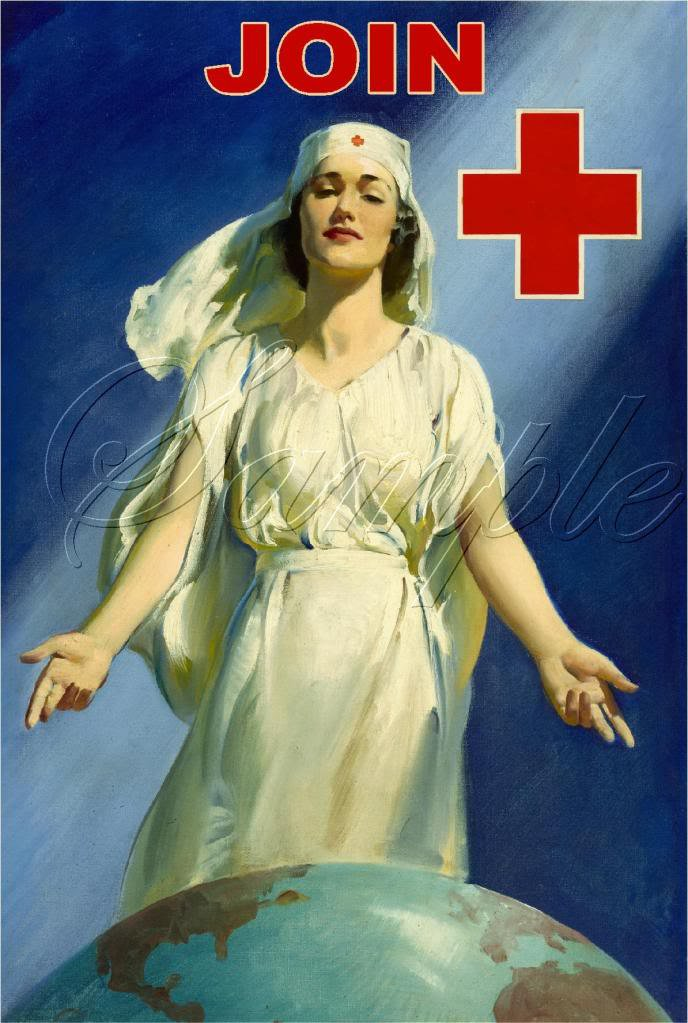 RED CROSS NURSE WORLD GLOBE JOIN POSTER CANVAS ART- BIG