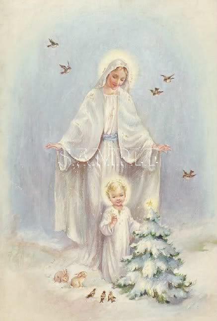 VINTAGE JESUS CHILD GUARDIAN ANGEL CANVAS PRINT- LARGE