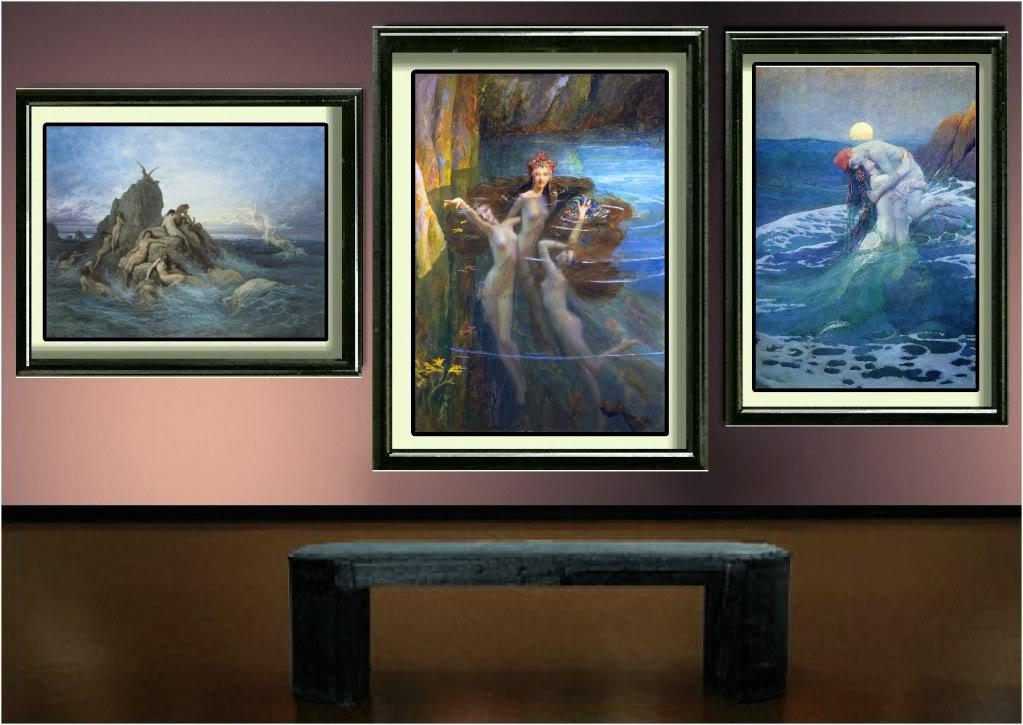 VINTAGE SEA NYMPH NAIADS SIREN FANTASY CANVAS ART PRINT