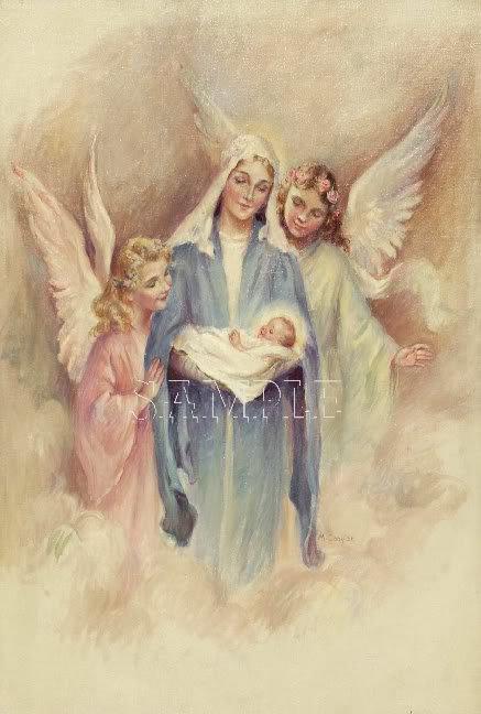 VINTAGE JESUS VIRGIN MARY ANGELS RELIGIOUS CANVAS PRINT