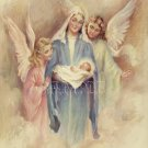 VINTAGE JESUS VIRGIN MARY ANGELS RELIGIOUS CANVAS PRINT
