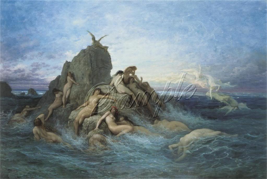 VINTAGE SIREN SEA NYMPH NAIADS FANTASY CANVAS ART LARGE