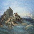 VINTAGE SIREN SEA NYMPH NAIADS FANTASY CANVAS ART PRINT