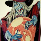 VINTAGE WITCH WICCA HALLOWEEN PUMPKIN CANVAS ART PRINT