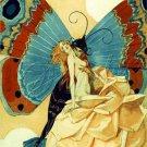 ART DECO BUTTERFLY MAN ROSE LADY EROTIC CANVAS ART BIG