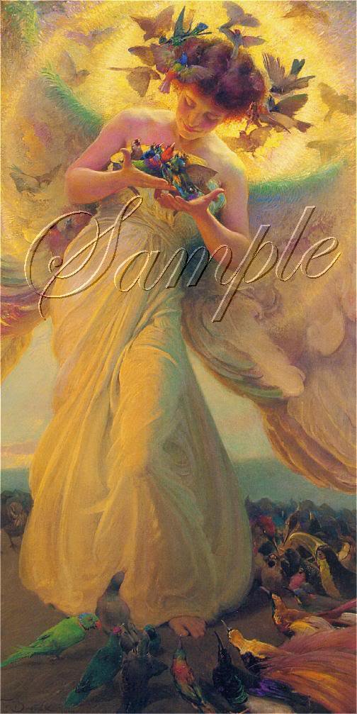 VINTAGE BIRDS ANGEL WINGS PARROT FANTASY CANVAS ART BIG