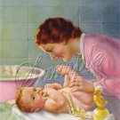 VINTAGE BABY MOTHERS DAY BATH DIAPER CANVAS ART PRINT