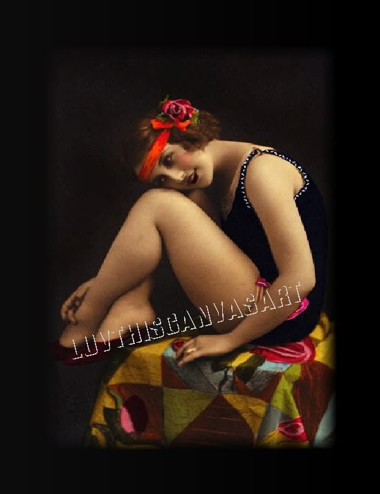 VINTAGE FRENCH RISQUE BATHING FLAPPER TINT CANVAS PRINT
