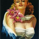 1930s VINTAGE PIN-UP GIRL ORCHID CORSAGE CANVAS ART BIG