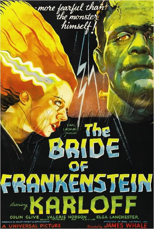 VINTAGE BRIDE OF FRANKENSTEIN KARLOFF HORROR CANVAS ART