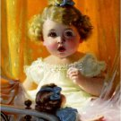 VINTAGE CHILD GIRL CURLS ANTIQUE DOLL CANVAS ART PRINT