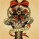 VINTAGE TATTOO FLASH FLOWER BOUQUET MOTHER CANVAS ART