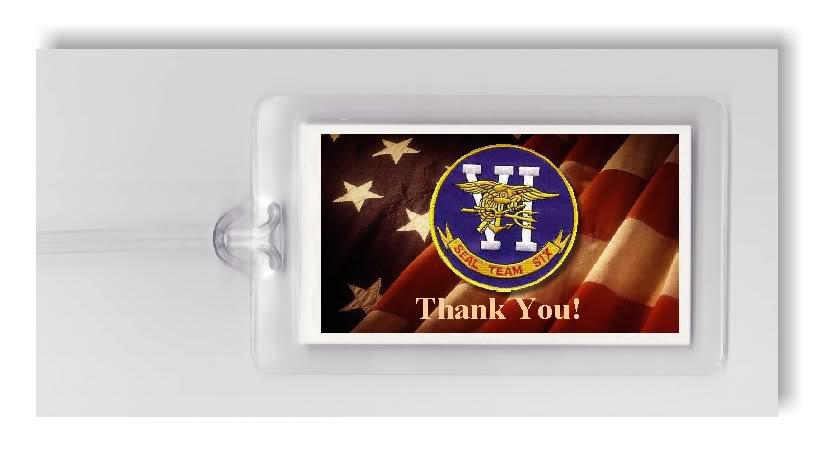 NAVY SEALS 6 TEAM USA FLAG PATCH OSAMA -2 LUGGAGE TAGS