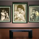 VINTAGE GIRL JACK RUSSELL DOG PHOTO CANVAS ART PRINT