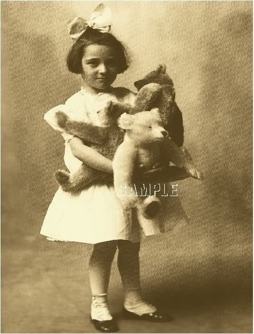 VINTAGE CHILD TEDDY BEAR PHOTO CANVAS ART PRINT - LARGE