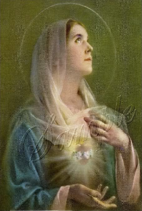 VINTAGE SACRED IMMACULATE HEART MARY CANVAS ART LARGE