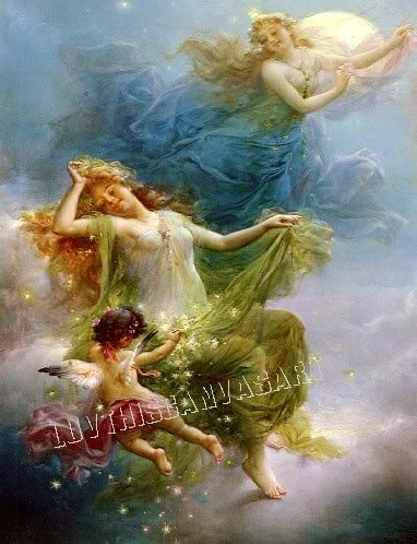 VINTAGE PRETTY WITCH FLYING CUPID MOON CANVAS ART PRINT