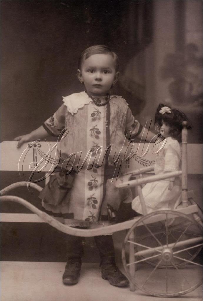 VINTAGE GIRL ANTIQUE DOLL PULL CART PHOTO CANVAS PRINT