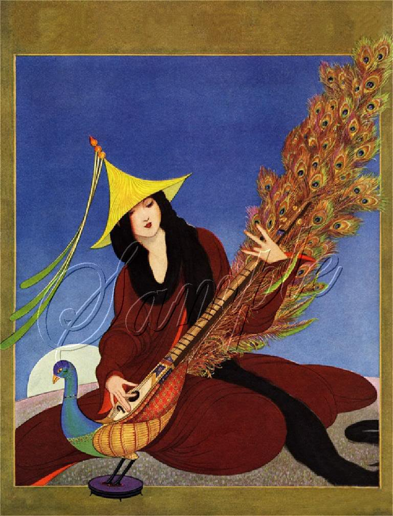 PEACOCK LUTE INSTRUMENT MUSIC LADY CANVAS ART PRINT BIG