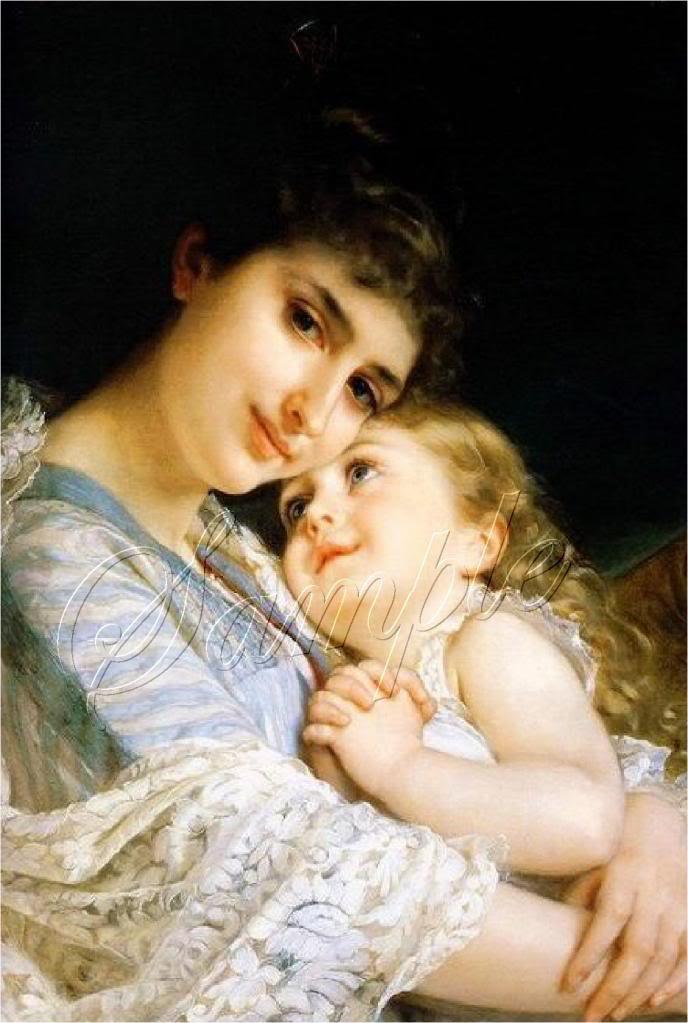 VINTAGE MOTHER CHILD HUGS LOVE LACE CANVAS ART PRINT