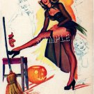 WITCH WICCA HALLOWEEN PUMPKIN SEXY STOCKINGS CANVAS ART