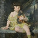 VINTAGE GIRL ANTIQUE DOLL YELLOW DRESS CANVAS ART LARGE