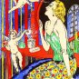ART DECO POCHOIR CHERUB LADY MAKEUP CANVAS PRINT-LARGE