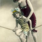 ART DECO BATHING BEAUTY MOTHER CHILD PHOTO CANVAS PRINT
