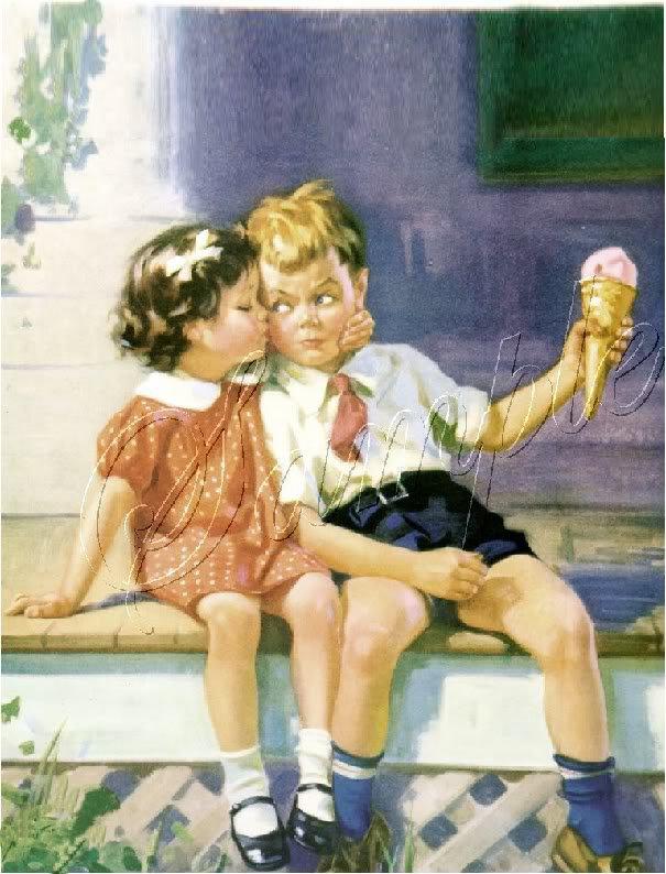 VINTAGE GIRL BOY ICE CREAM CONE KISS CANVAS ART PRINT