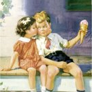 VINTAGE GIRL BOY ICE CREAM CONE KISS CANVAS ART PRINT