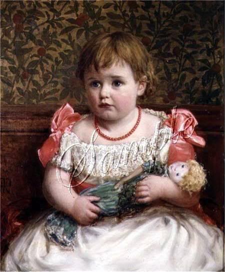 VICTORIAN CHILD GIRL ANTIQUE DOLL PORTRAIT CANVAS ART