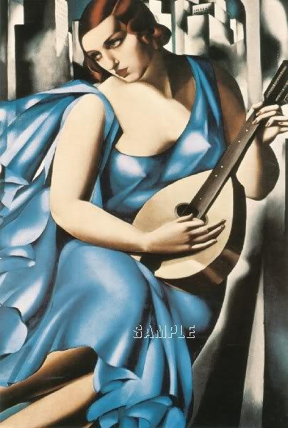 ART DECO WOMAN MUSICIAN GUITAR PLAYER CANVAS ART PRINT
