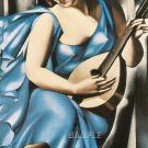 ART DECO WOMAN MUSICIAN GUITAR PLAYER CANVAS ART PRINT