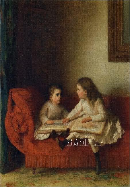 VICTORIAN CHILDREN READING ANTIQUE ABC BOOK CANVAS ART