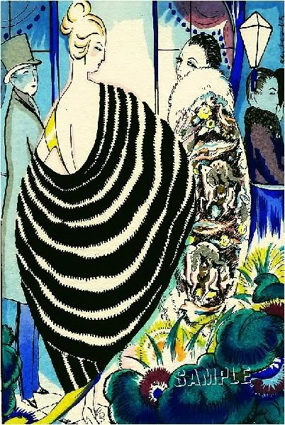 ART DECO NOUVEAU WOMAN FASHION COUTURE CANVAS PRINT BIG