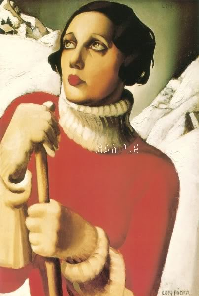 ART NOUVEAU WOMAN WINTER SKIING  CANVAS ART PRINT LARGE