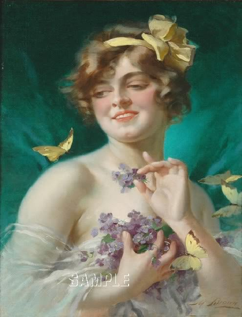 VINTAGE LADY RED HAIR LILACS BUTTERFLY CANVAS ART PRINT