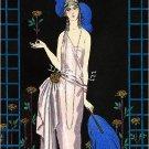 DECO LADY FASHION ROSES ILLUSTRATION CANVAS ART PRINT