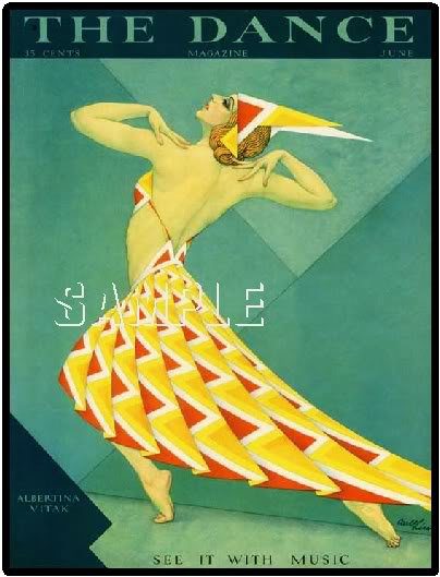 DECO DANCE MAGAZINE COVER ZIEGFELD SHOW GIRL CANVAS ART