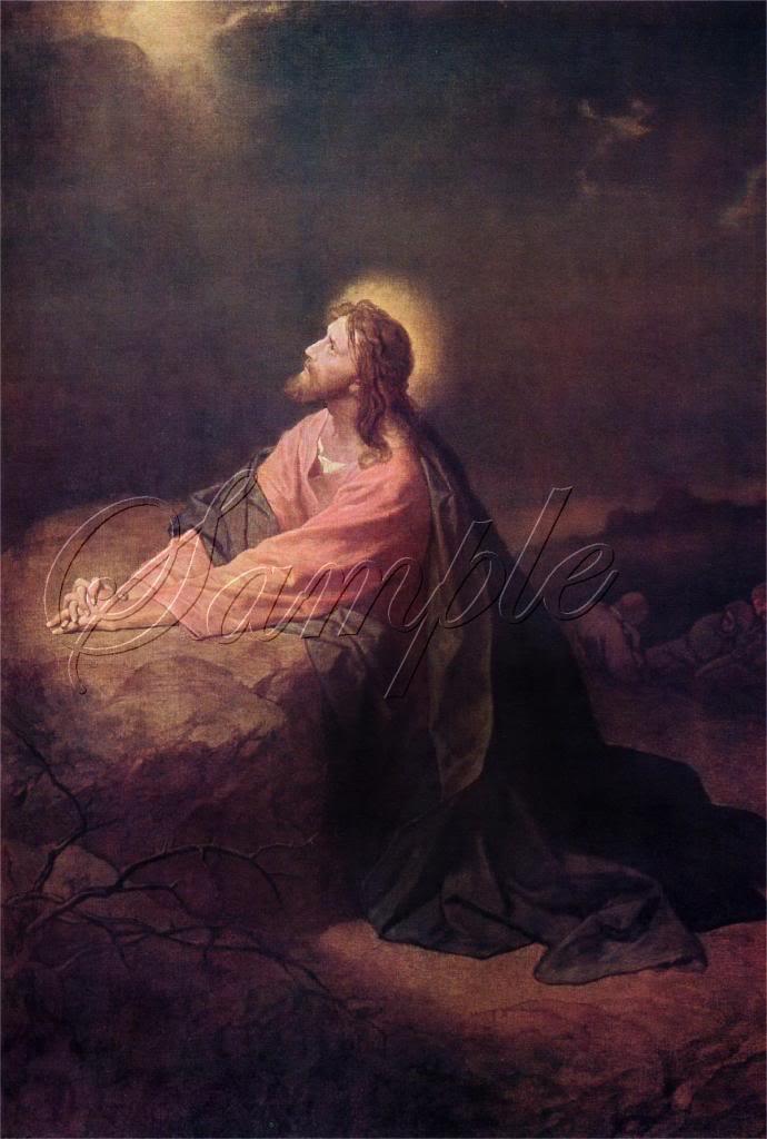 VINTAGE JESUS CHRIST RELIGIOUS GETHSEMANE CANVAS PRINT