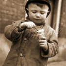 VINTAGE CHILD BOY ICE CREAM CONE PHOTO CANVAS ART PRINT